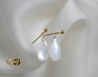 9kt Earrings Rainbow Moonstone Earring Earrings Solid Gold earrings Moonstone stud earrings with ball