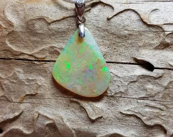 Shimmering Green Mintabie Opal Pendant 005O