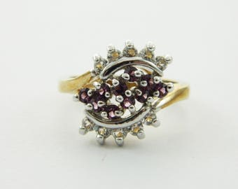 Vintage Amethyst and CZ Cluster Ring - VPE216