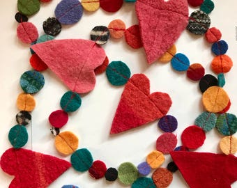 Felted Heart Garland from Recycled Sweaters