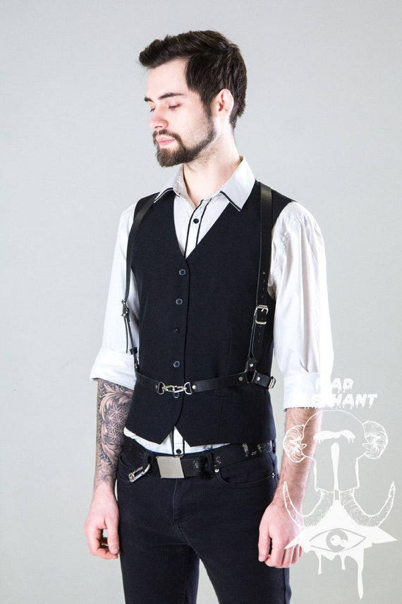 Fashion body harness leather bondage suit mens braces belts for man 8rsp8lH