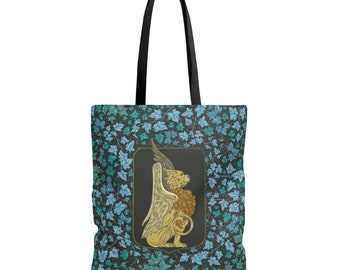 Heraldic Griffin Everyday Tote Bag, Machine Washable, Mythical Beasts, Mystical Animal, Medieval, Gift