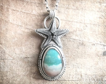 Sterling silver starfish and opalized petrified wood necklace, sea star statement necklace, ocean jewelry, beach inspired gift for her