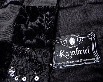 Black Decadence Patchwork Scarf by Kambriel - hand-made w/ 152 pieces of fabric! - One of a Kin & Ready to Ship