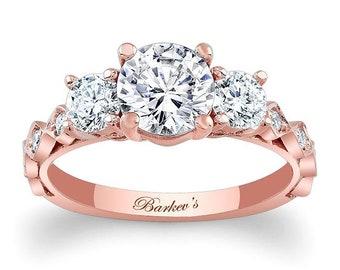 Barkevs Rose Gold Diamond Engagement Ring, ForeverOne Moissanite Engagement Rings, Available with Diamond or Moissanite Center Stone, 7973LP