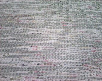 3x5 Rag Rug / Green and White Floral