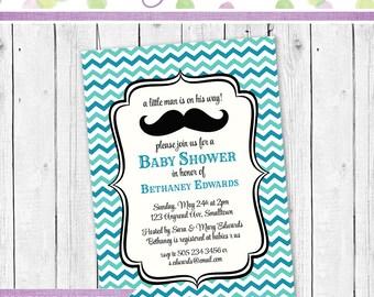 Baby Shower Invitation, Mustache Invitation, Mustache Baby Shower Invite, Baby shower Mustache invitation, Baby Shower party invitation