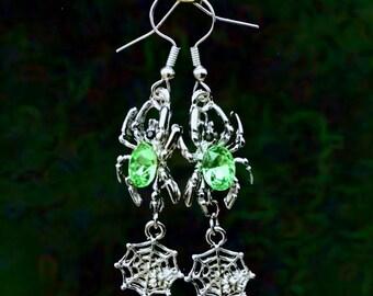 50% SALE Halloween Earrings..Halloween Jewelry..Green Spider Web Earrings..Witch Earrings..Green Witch Costume Jewelry..Light Green Earrings