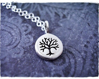 Tiny Rowan Tree Necklace - Sterling Silver Rowan Tree Charm on a Delicate Sterling Silver Cable Chain or Charm Only