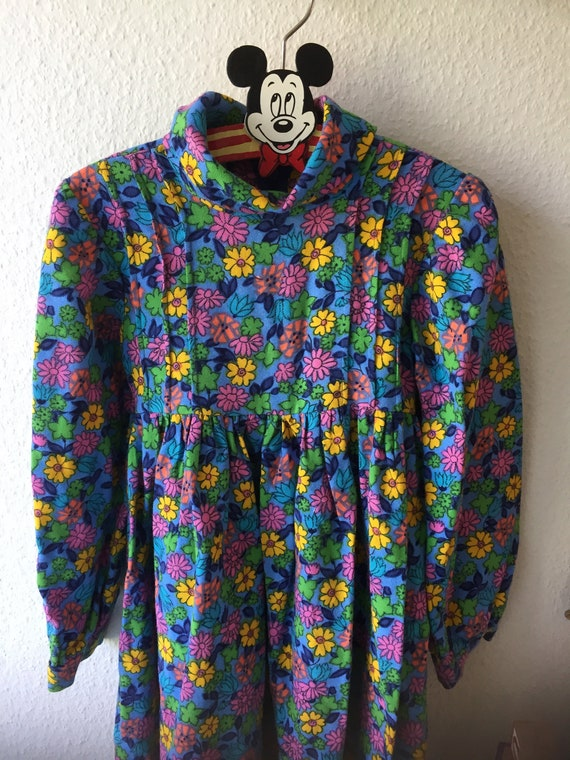 Girls/sweet/floral/Blue/yellow/pink/long sleeved/flowery/dress/hidden zipper/scandinavian/ winter dress