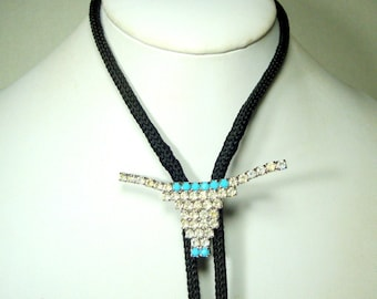 Rhinestone Cowboy Bolo Tie, White & Turquoise Bull Horn Slide on Black Woven String, Silver Metal Tips, YEE HAA
