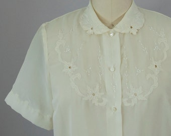 60s Vintage Sheer Ivory Floral Embroidered Collar Blouse (M)
