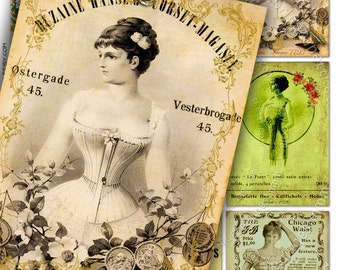 LA NOUVELLE MODE atc aceo size - corset paper Digital collage sheet - french market poster jewelry holder hang tags scrapbook - ac166