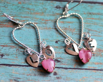Valentine's Day Gift for her LOVE Earrings, Pink Heart Earrings, Silver Earrings,Silver Chandelier Earrings, Great I Love You Gift for Her