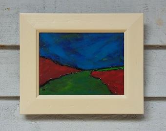 "Original Art Acrylic Landscape Painting 13""x11"" Naive Painting in Acrylic Original Abstract Landscape Expressionism Canvas Board Artwork Art"