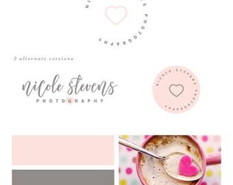 Heart Logo Design Photography Logo Design Minimalist Logo Blog Logo Pink Heart Logo Premade Logo