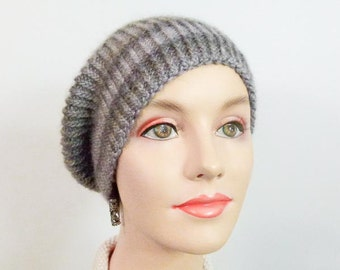 Hand Knit Cap, Slouchy Hat Grey Striped - Size Adult Sm/Med - Item 1254