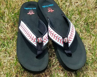 Baseball Stitch  Flip Flops  Sandals  -Sizes  Small 4/5, Med.6/ 7, Large 8/ 9, XL 10/11