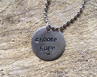Choose Hope hand-stamped necklace