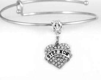 Step mom gift Step mom bracelet Crystal heart step mom bracelet Step mom wedding gift Step mom of the bride