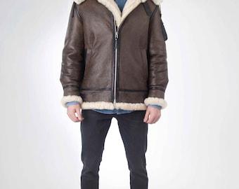 Shearling sheepskin aviator jacket