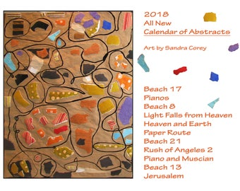 Calendar, 2018 Abstract Art Wall Calendar, All New, Art by Sandra Corey. FREE DOMESTIC SHIPPING.
