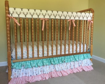 Woodland Baby Bedding- 3 Tiered Ruffled Crib Skirt- Dust Ruffle