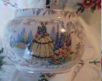 sadler sugar bowl crinoline lady large pot belly shape