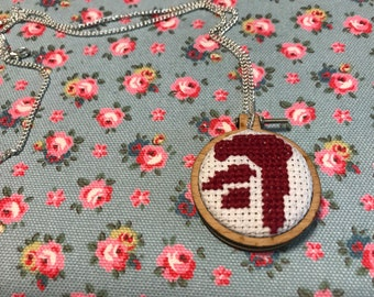 Supernatural Mark of Cain embroidery hoop necklace