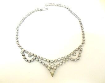 "Vintage Rhinestone Necklace Choker Pear  15 1/2""  50's (item 12)"