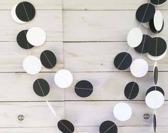 Black and White Circle Garland, Monochrome Paper Garland, Black and White Party Decor, Monochrome First Birthday, Black White Nursery Theme