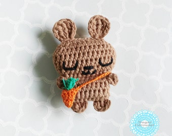 Mini brown bunny tiny carrot bag - cotton amigurumi handmade rabbit plush newborn baby kid boy girl pretend play toy gift photo prop doll