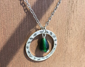 Reversible Green Bead Silver Necklace