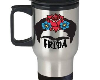 Frida Travel Mug, Frida Coffee Mug, Frida Mug, Frida Kahlo