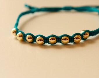 gold bead friendship bracelet, gold bead knotted bracelet, yoga bracelet