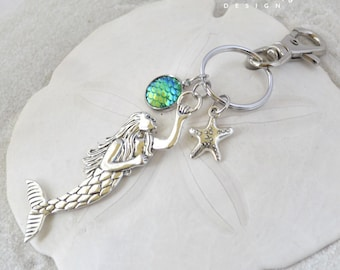 Mermaid Keychain-Starfish Keychain-Under The Sea Keychain-Mermaid Accessories-Gift For Her-Coastal Keychain-Mythical Creature Collection
