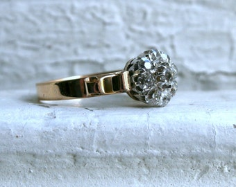 Antique 14K  Gold Diamond Cluster Engagement Ring - 1.05ct.