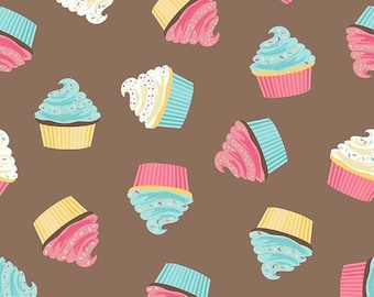 25% OFF CLEARANCE SALE Cupcakes on Brown from Riley Blake's Novelty Collection by Samantha Walker