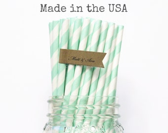 Mint Green Paper Straws, 100 Pastel Green Wedding Table Setting Baby Shower Made in USA, Birthday Party, Paper Goods, Rustic Wedding Straws