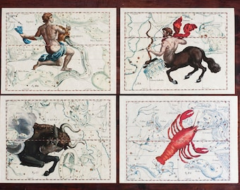 4 Greeting Cards Zodiac Signs Constellations on Parchment paper