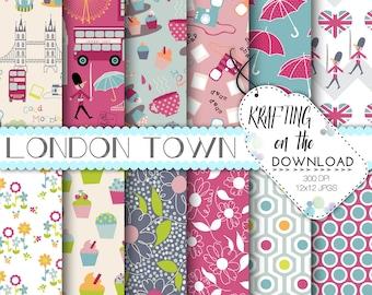 travel paper pack london digital paper tea time paper pack british flag uk scrapbooking travel papers royal london paper packs download