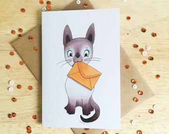 Siamese Cat Messenger - greeting card for birthdays, thinking of you, sorry, cat lovers!