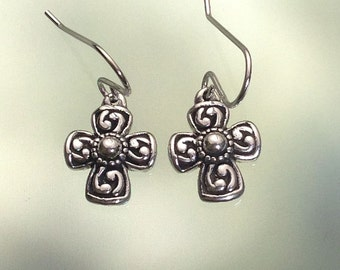 925 Solid Sterling Silver CROSS Earrings/ Christian Jewelry / Confirmation Gift / Baptism Gift- Small- Oxidized- Dangle