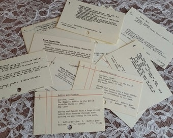 Vintage Dewey Decimal Card Catalog Cards- Set of 10- For Use In Junk Journals, Planners ,Tag Making, Scrapbooking, Journal card, Mixed Media