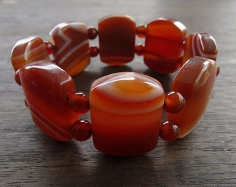 Retro Vintage 1960s Large Orange Banded Agate Expandable Ladies Bracelet FREE POSTAGE