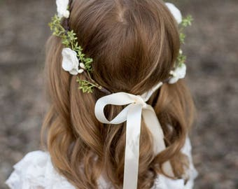 Flower Crown | Fabric Flowers | Hair Piece | Bridal Hair Piece | Bridal Flower Crown | Ivory and Blush Flowers | Romantic Hair