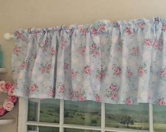 Shabby Chic Pink and White Roses on Blue Valance ~ 44 Inches Wide