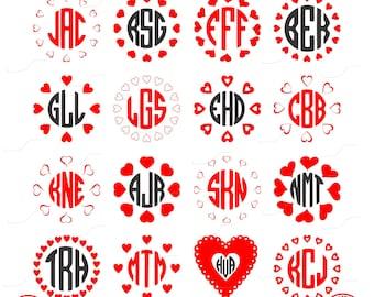 Valentine Monogram Frames, Heart Frames, Monogram Hearts, Wedding, Digital Cut File, Vinyl Cutting File, SVG, DXF, EPS, Silhouette, Cricut