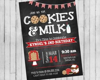 Milk and Cookies Birthday Invitation | Cookies and Milk Birthday Invitation | Red Gingham Birthday Invitation | Digital Invitation