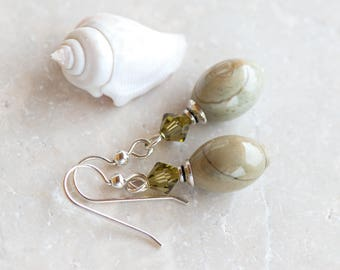 Silver Leaf Jasper Earrings, Natural Stone Earrings, Swarovski Crystals, Moss Green Earrings, Beige & Green Jasper Earrings, Banded Jasper